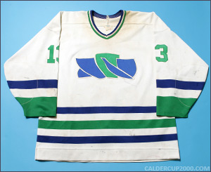 1988-1989 game worn Andy Bezeau Moncton Turbines jersey