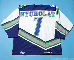 1999-2000 game worn Lawrence Nycholat Swift Current Broncos jersey