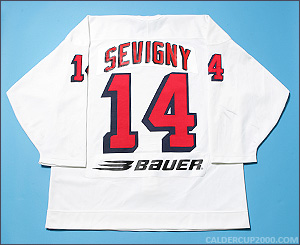 1997-1998 game worn Pierre Sevigny Hartford Wolf Pack jersey