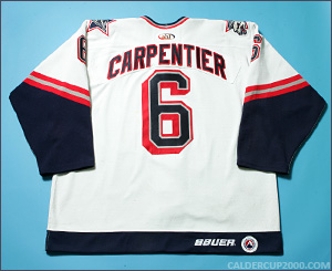 1999-2000 game worn Benjamin Carpentier Hartford Wolf Pack jersey