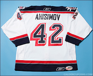 2007-2008 game worn Artem Anisimov Hartford Wolf Pack jersey
