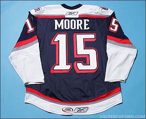 2007-2008 game worn Greg Moore Hartford Wolf Pack jersey