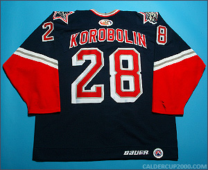 1999-2000 game worn Alexander Korobolin Hartford Wolf Pack jersey
