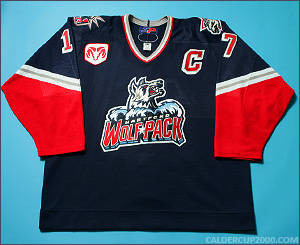 2000-2001 game worn Derek Armstrong Hartford Wolf Pack jersey