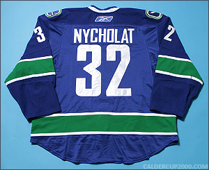 2008-2009 game worn Lawrence Nycholat Vancouver Canucks jersey