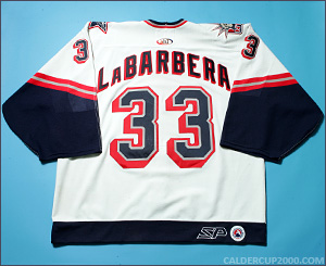 2000-2001 game worn Jason LaBarbera Hartford Wolf Pack jersey