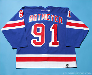 2004-2005 game worn Jed Ortmeyer Hartford Wolf Pack jersey