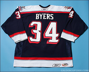 2006-2007 game worn Dane Byers Hartford Wolf Pack jersey