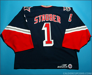 1997-1998 game worn Robb Stauber Hartford Wolf Pack jersey