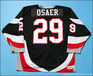 1997-1998 game worn Phil Osaer Waterloo Blackhawks jersey