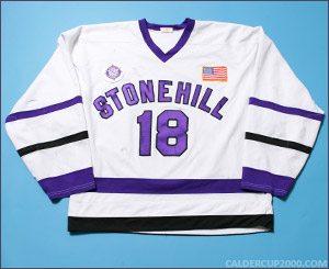 2002-2004 game worn Brian Lewis Stonehill College Chieftains jersey