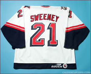 1997-1998 game worn Tim Sweeney Hartford Wolf Pack jersey