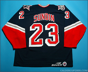 1997-1998 game worn Ronnie Sundin Hartford Wolf Pack jersey