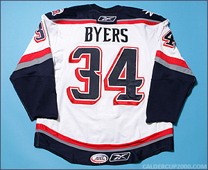2007-2008 game worn Dane Byers Hartford Wolf Pack jersey