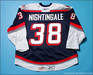 2008-2009 game worn Jared Nightingale Hartford Wolf Pack jersey