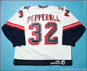 1997-1998 game worn Colin Pepperall Hartford Wolf Pack jersey