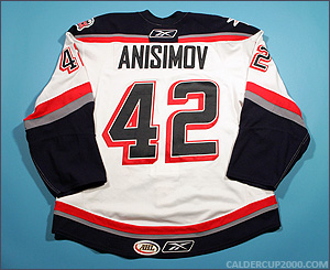 2008-2009 game worn Artem Anisimov Hartford Wolf Pack jersey