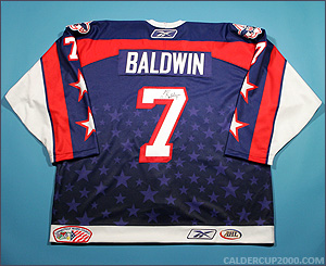 2009-2010 game worn Lee Baldwin Hartford Wolf Pack jersey