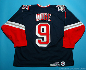 1998-1999 game worn Christian Dube Hartford Wolf Pack jersey