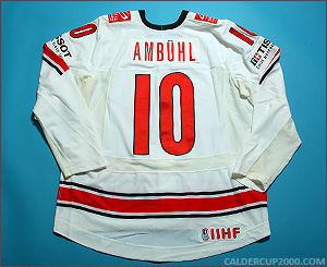 2010 game worn Andres Amb�hl Team Switzerland jersey