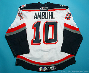 2009-2010 game worn Andres Amb�hl Hartford Wolf Pack jersey