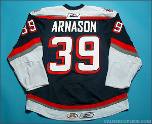 2009-2010 game worn Tyler Arnason Hartford Wolf Pack jersey