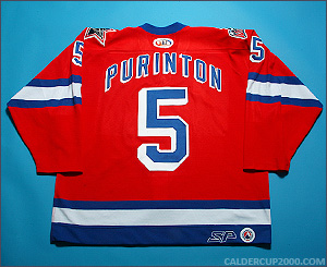 2000-2001 game worn Dale Purinton Hartford Wolf Pack jersey