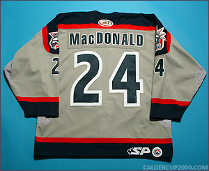 2003-2004 game worn Jason MacDonald Hartford Wolf Pack jersey