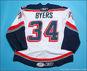 2009-2010 game worn Dane Byers Hartford Wolf Pack jersey