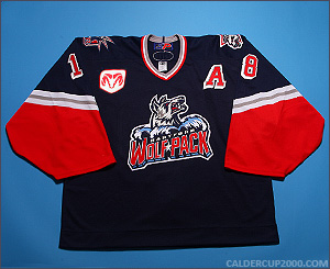 2000-2001 game worn Manny Malhotra Hartford Wolf Pack jersey