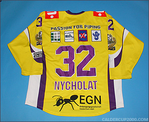 2011-2012 game worn Lawrence Nycholat Krefeld Pinguine jersey