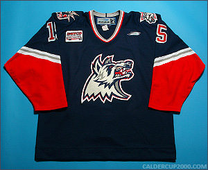 1999-2000 game worn Francois Fortier Hartford Wolf Pack jersey