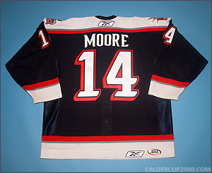 2005-2006 game worn Greg Moore Hartford Wolf Pack jersey