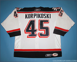 2005-2006 game worn Lauri Korpikoski Hartford Wolf Pack jersey