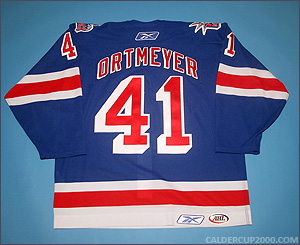 2005-2006 game worn Jed Ortmeyer Hartford Wolf Pack jersey