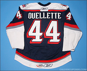 2007-2008 game worn Mike Ouellette Hartford Wolf Pack jersey