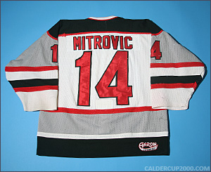 1993-1994 game worn Savo Mitrovic Detroit Falcons jersey