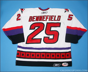 2005-2006 game worn Blue Bennefield Lowell Lock Monsters jersey