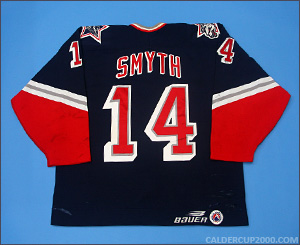 1997-1998 game worn Brad Smyth Hartford Wolf Pack jersey