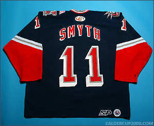 2001-2002 game worn Brad Smyth Hartford Wolf Pack jersey