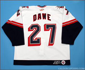 2001-2002 game worn Jason Dawe Hartford Wolf Pack jersey