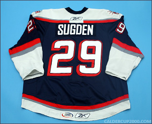 2008-2009 game worn Brandon Sugden Hartford Wolf Pack jersey