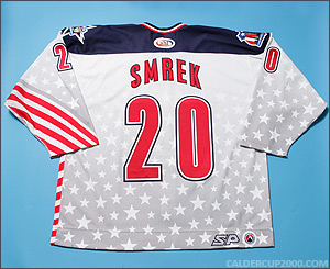 2001-2002 game worn Peter Smrek Hartford Wolf Pack jersey