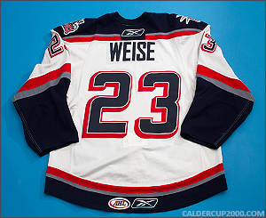 2008-2009 game worn Dale Weise Hartford Wolf Pack jersey