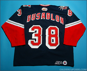 2001-2002 game worn Benoit Dusablon Hartford Wolf Pack jersey
