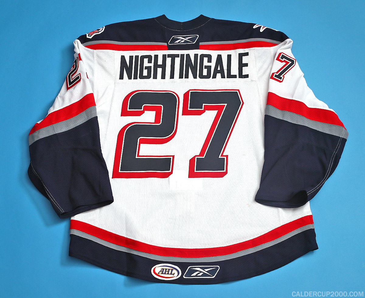 2009-2010 game worn Jared Nightingale Hartford Wolf Pack jersey