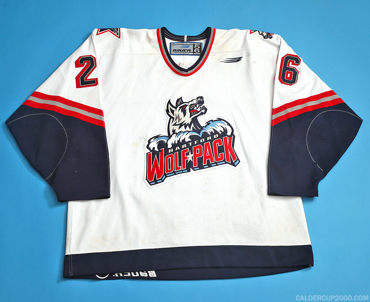 1998-1999 game worn David Oliver Hartford Wolf Pack jersey