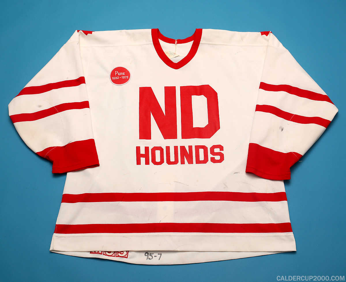 1995-1996 game worn Lawrence Nycholat Notre Dame Hounds jersey