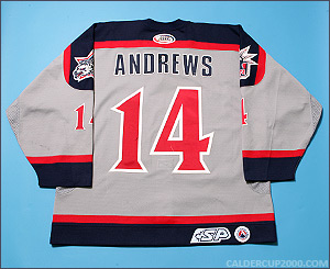 2002-2003 game worn Bobby Andrews Hartford Wolf Pack jersey