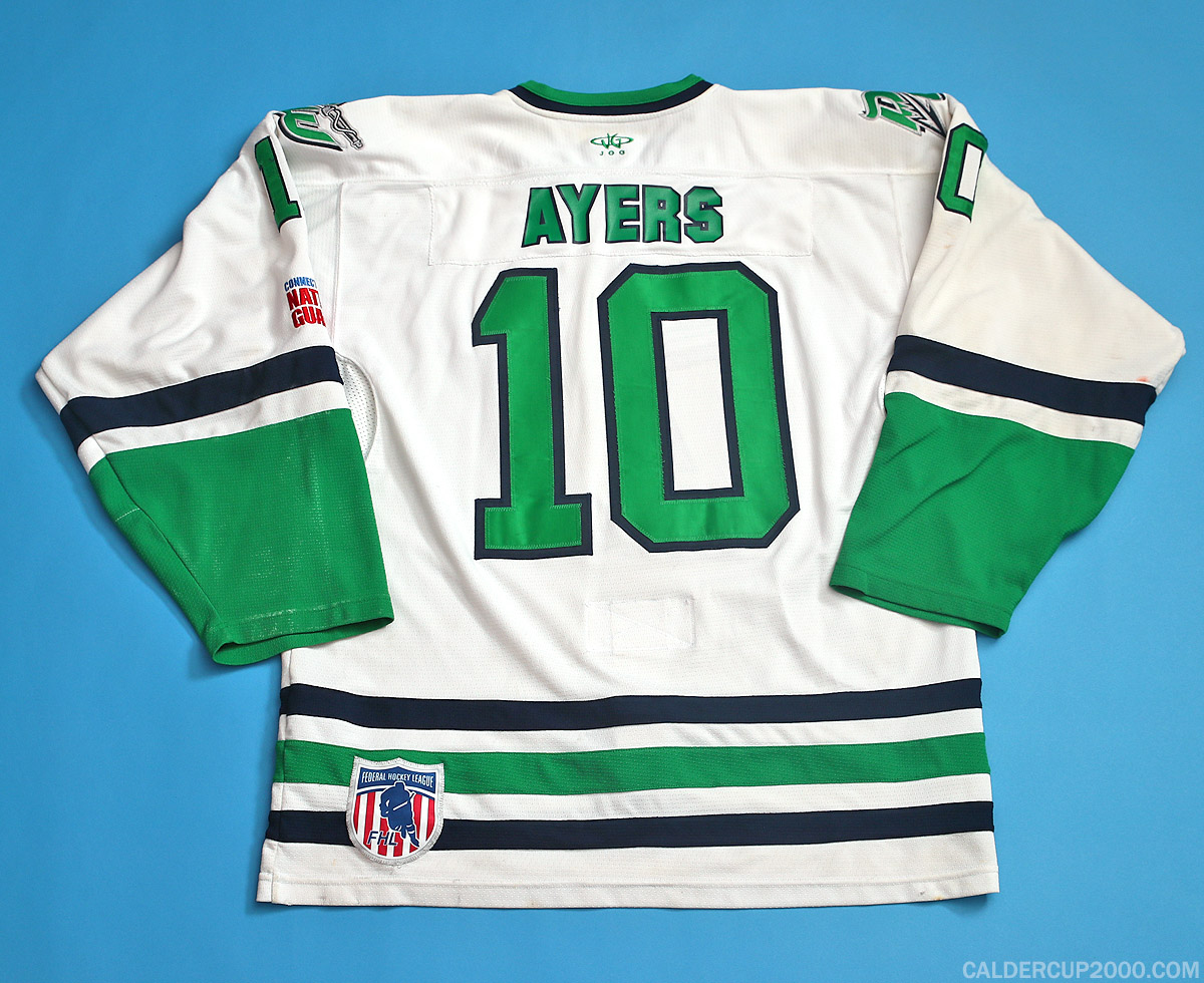 2013-2014 game worn Cody Ayers Danbury Whalers jersey